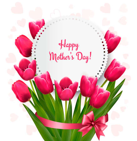 Illustration pour Pink tulips with Happy Mother's Day gift card. Vector. - image libre de droit