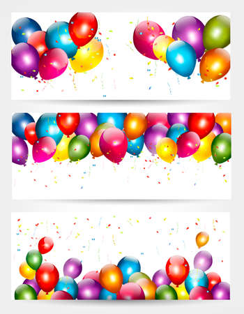 Illustration for Three holiday birthday banners with balloons. Vector. - Royalty Free Image