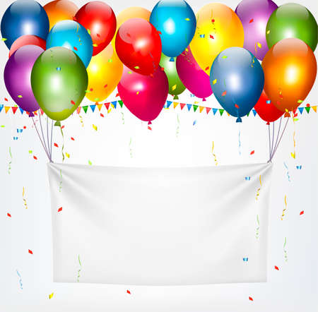 Illustration pour Colorful balloons holding up a cloth white banner. Birthday background. - image libre de droit