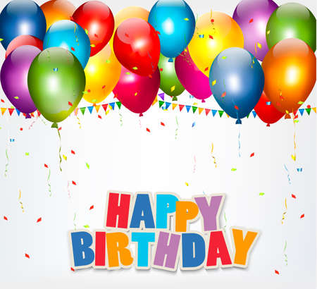 Illustrazione per Celebration background with balloons, confetti and a Happy Birthday sign. Vector. - Immagini Royalty Free