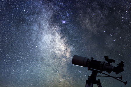 Photo for Telescope in starry night. Milky way and telescope. Astronomy - Royalty Free Image