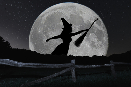 Photo for Halloween witch silhouette flying with broomstick. Full Moon. - Royalty Free Image