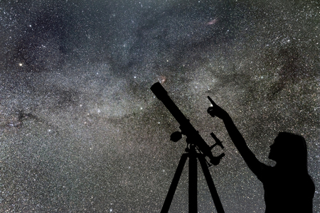 Photo pour Girl looking at the stars. Telescope Milky Way - image libre de droit
