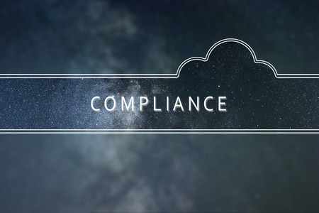 Photo for COMPLIANCE word cloud Concept. Space background. - Royalty Free Image