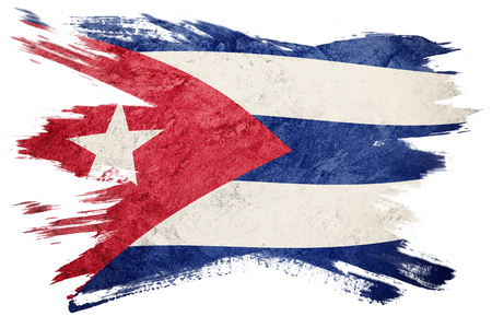 Foto de Grunge Cuba flag. Cuban flag with grunge texture. Brush stroke. - Imagen libre de derechos