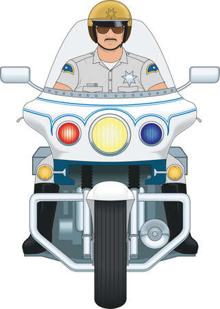Illustration for Motorcycle Cop Illustration - Royalty Free Image