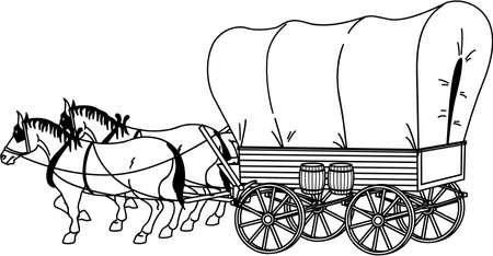 Illustration pour Covered Wagon Illustration - image libre de droit
