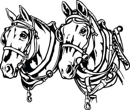 Illustration pour Draft Horses Illustration - image libre de droit