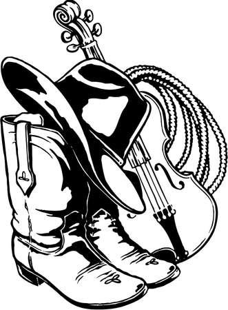 Ilustración de Hat boots rope and fiddle illustration. - Imagen libre de derechos