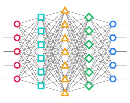 Illustration pour Neural net. Neuron network. Deep learning. Cognitive technology concept. Vector illustration - image libre de droit