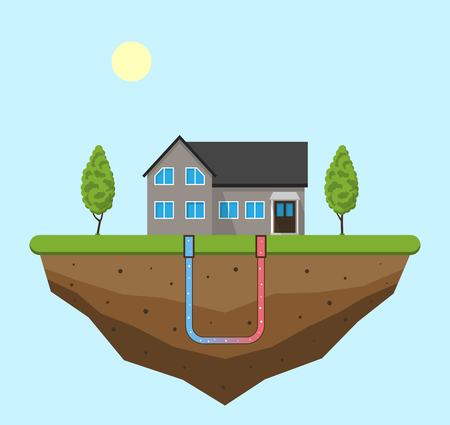 Illustration pour Geothermal green energy concept. Eco friendly house with geothermal heating and energy generation. Vector illustration. - image libre de droit