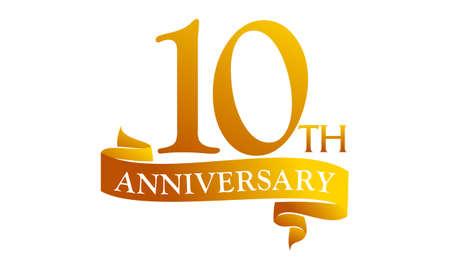 Illustration pour 10 Year Ribbon Anniversary - image libre de droit