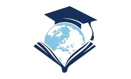 Illustration for World Education Logo Design Template Vector - Royalty Free Image