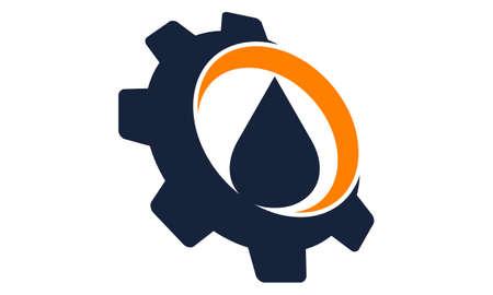 Ilustración de Drop Oil water with gear logo icon vector illustration. - Imagen libre de derechos
