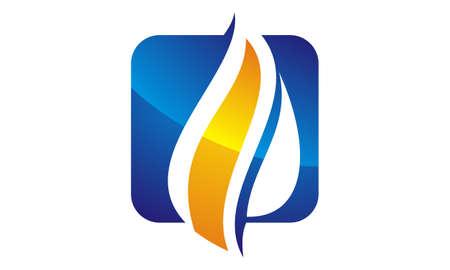 Ilustración de Water Fire Flame Gas Oil icon logo Vector illustration. - Imagen libre de derechos