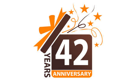 Illustration pour 42 Years Gift Box Ribbon Anniversary. - image libre de droit