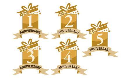 Ilustración de Year Gift Box Ribbon Anniversary Set - Imagen libre de derechos