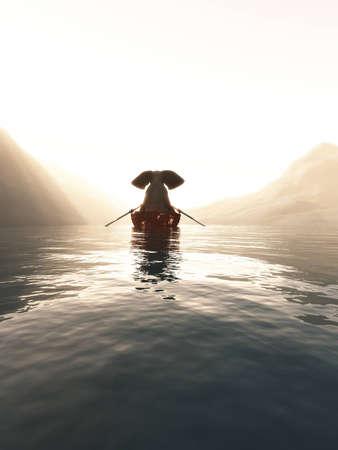 Foto de Elephant in a boat floating on a lake at sunset. - Imagen libre de derechos