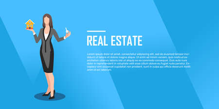 Illustration pour Realtor holds a key in hand and small house flat, illustration, vector - image libre de droit