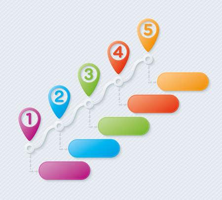 Illustration pour Map pointers steps infographic. Vector. - image libre de droit