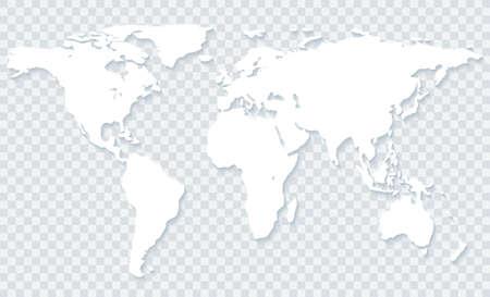 Photo pour White world map with shadow on transparent background.Vector EPS10 - image libre de droit