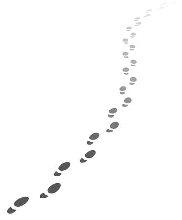 Ilustración de Foot steps walking away.Vector illustration of receding human footprints with copy space. Vector EPS10. - Imagen libre de derechos