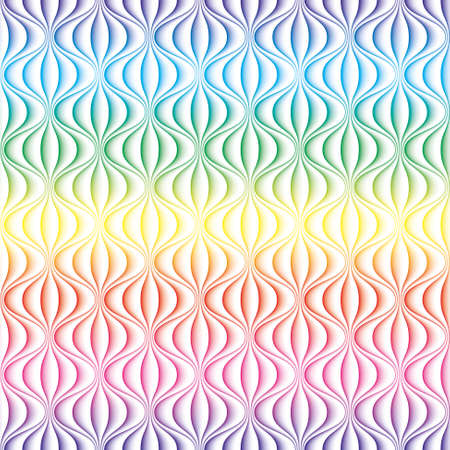 Ilustración de Colorful 3D Wavy lines seamless background. Multicolor seamless vector pattern for your design. - Imagen libre de derechos