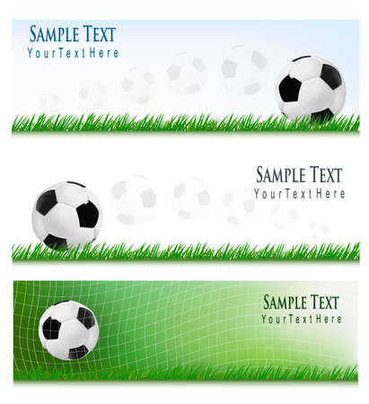Three football backgrounds. Vector