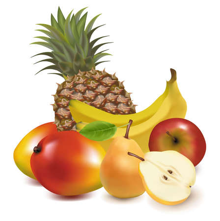 Foto für Photo-realistic vector illustration. Big group of exotic fruit.  - Lizenzfreies Bild