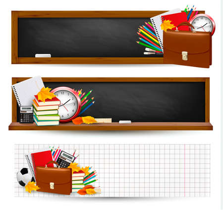 Photo pour Back to school Three banners with school supplies and autumn leaves - image libre de droit