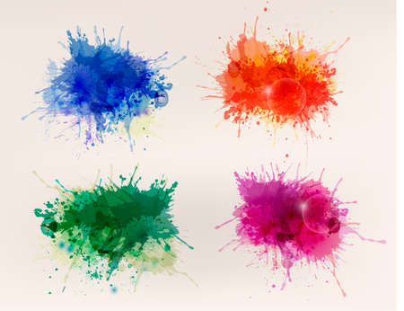 Illustration pour Collection of colorful abstract watercolor backgrounds - image libre de droit