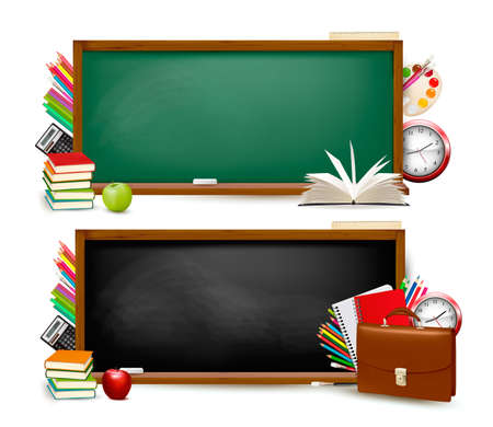 Photo pour Back to school. Two banners with school supplies. Vector. - image libre de droit