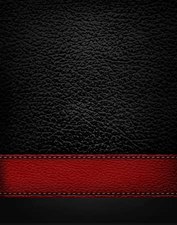 Black leather background with red leather strip. Vector illustration.