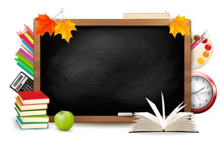 Photo pour Back to school. Blackboard with school supplies. Vector. - image libre de droit