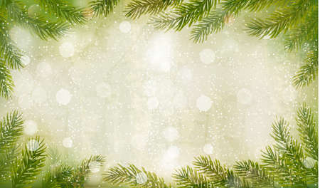 Illustration for Christmas retro background with christmas tree branches. Vector.  - Royalty Free Image