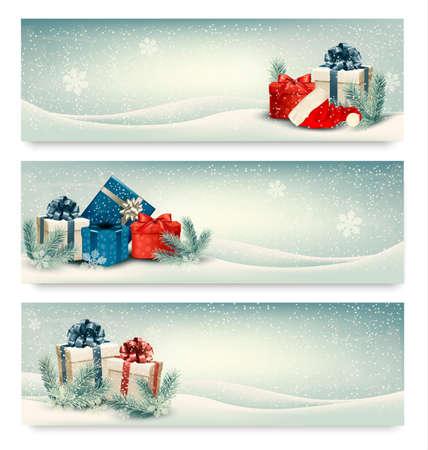 Illustration pour Christmas winter banners with presents. Vector.  - image libre de droit
