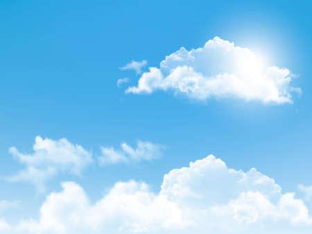 Illustration pour Blue sky with clouds. Vector background.  - image libre de droit