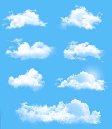 Illustration pour Set of transparent different clouds. Vector. - image libre de droit