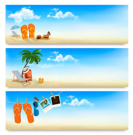 Ilustración de Three summer vacation banners. Vector. - Imagen libre de derechos