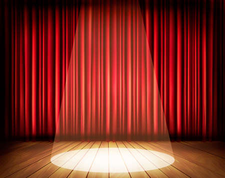 Illustration pour A theater stage with a red curtain and a spotlight. Vector.  - image libre de droit