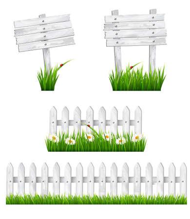 Ilustración de Set of white wooden signs and a fences with grass. Vector.  - Imagen libre de derechos