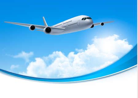 Foto de Travel background with an airplane and white clouds. Vector. - Imagen libre de derechos