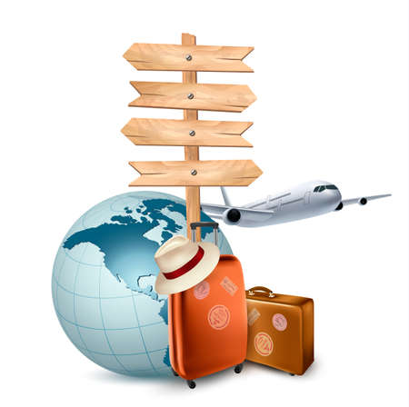 Foto de Two travel suitcases, a plane, a globe and a direction sign. Vector illustration.  - Imagen libre de derechos