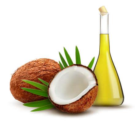 Ilustración de Coconut with oil. Vector.  - Imagen libre de derechos