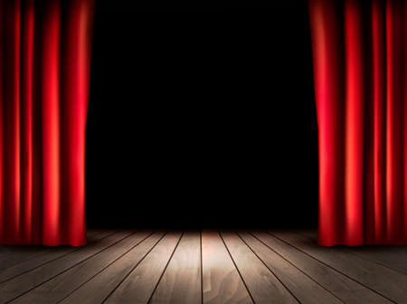 Illustration for Theater stage with wooden floor and red curtains. Vector. - Royalty Free Image