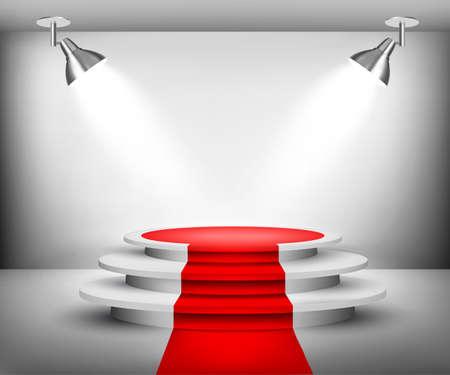 Ilustración de Showroom with red carpet. Vector. - Imagen libre de derechos