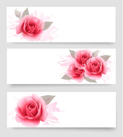 Illustration pour Three banners with pink roses. Vector. - image libre de droit