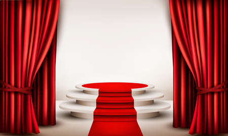 Illustration pour Background with curtains and red carpet leading to a podium - image libre de droit