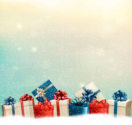 Illustration pour Holiday Christmas background with a border of gift boxes. Vector. - image libre de droit