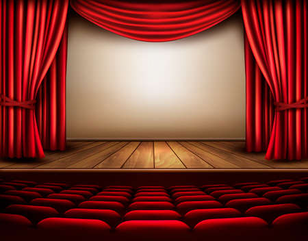Illustration pour Cinema or theater scene with a curtain. Vector. - image libre de droit